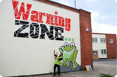 Warning Zone Frog Island Leicester By Urban Canvas