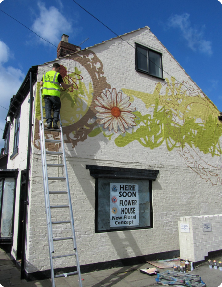 Flower House Gable End Mural Chatsworth Road By Urban Canvas