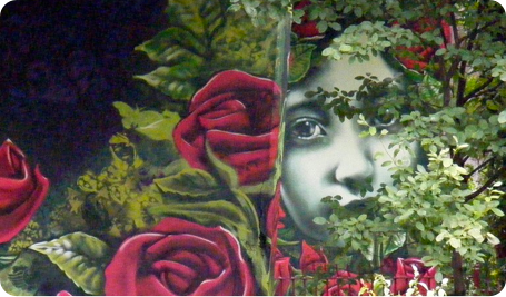 Queens Park Girl With Roses Graffiti by Urban Canvas